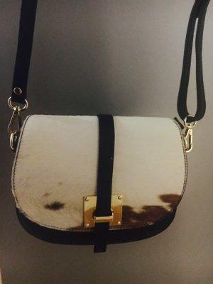 Handgefertigte Umhänge-/Schultertasche aus Leder/Wildleder Fell schwarz NEU