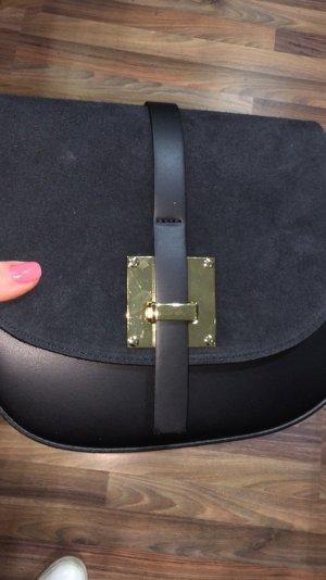 Handgefertigte Umhänge-/Schultertasche aus Wildleder schwarz NEU