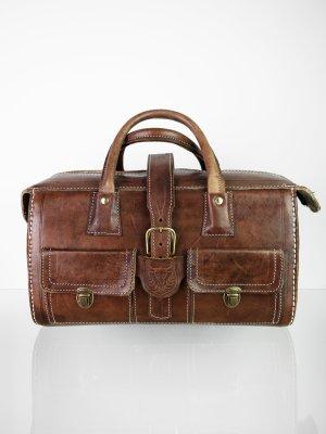 Bolso de viaje marrón-color oro Cuero