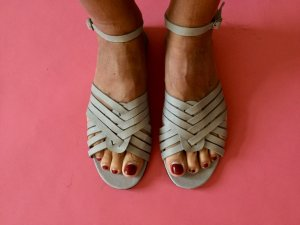 Strapped Sandals light grey-grey leather