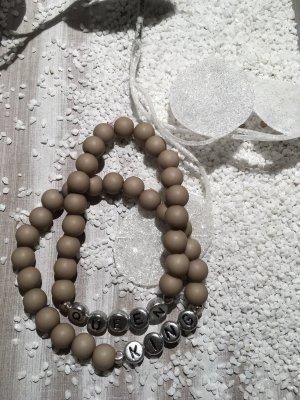 Armband met parels lichtgeel-zilver