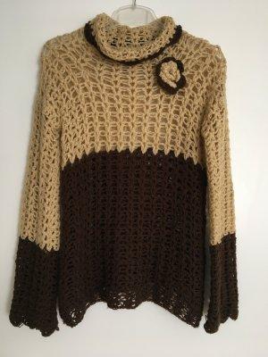 Cardigan en crochet brun sable-brun foncé