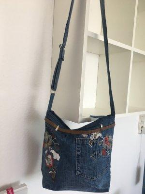 Stoffen tas donkerblauw-paars Gemengd weefsel