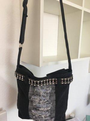Stoffen tas zwart-grijs Gemengd weefsel