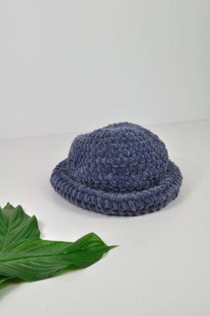 Handgemachter Vintage Hut in Blau aus weichem Stoff