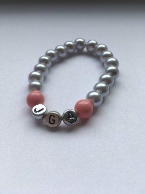 Armband met parels zilver-zwart