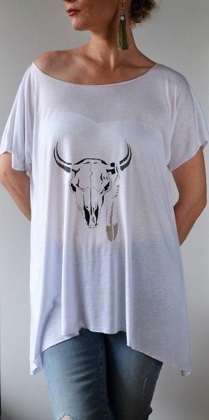 Handgemalt  Boho Style Top Bull Skull