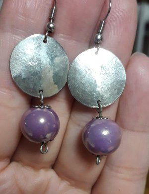 Statement Earrings grey lilac-silver-colored