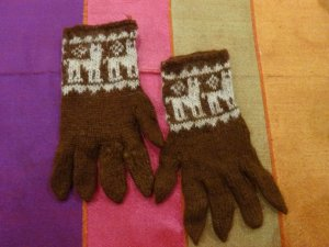 Knitted Gloves oatmeal-brown alpaca wool