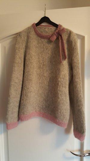 Jersey de lana gris claro-rosa lana de alpaca