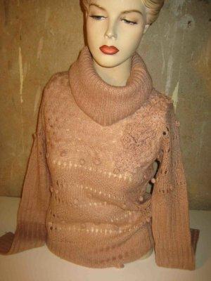 handgestrickter Pulli mit Kragen in altrosé, Mohair und Wolle, Romantic Chic