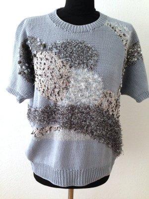 Handgestrickter Vintage Pullover mit kurzen Ärmeln, passt Gr. 38-42