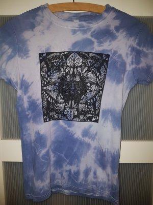 Camisa batik blanco-azul celeste Algodón