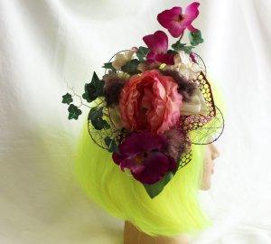 handmade Harajuku Haarspange Orchideen Rose Glitzerblüten Fascinator