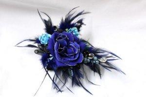 handmade Harajuku Haarspange Silberglitzer Federn Blumen Burlesque Fascinator