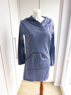 Robe à capuche bleu-bleu azur coton