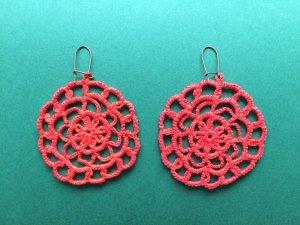 Handmade Macrame Coral Earrings