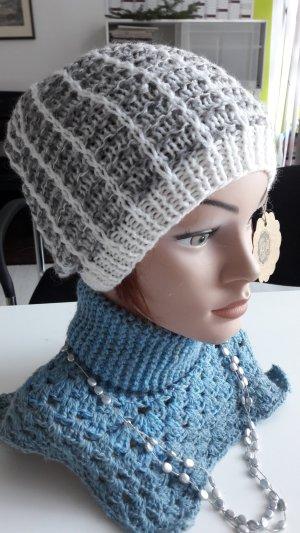 Sombrero de punto blanco-color plata