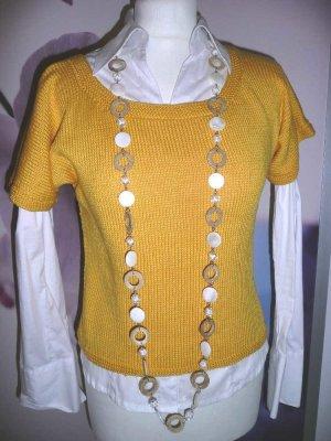 handmade Unikat kurzer Pulli Pullover Strickpullover Gelb Gr 36-38