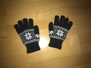 Knitted Gloves dark grey-white