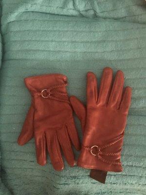 Leather Gloves dark orange