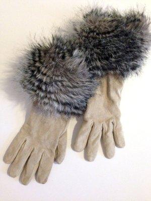 Handschuhe aus echtem Leder mit Fake Fur Besatz von H&M, Gr. M (7,5)