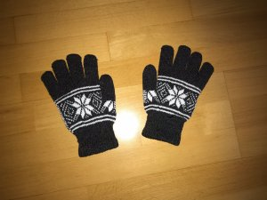 Knitted Gloves anthracite-white