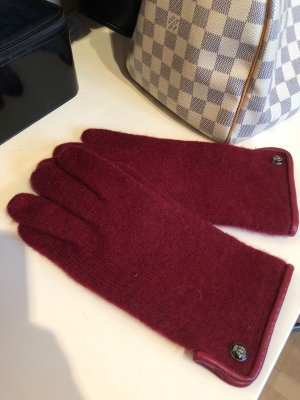 Roeckl Knitted Gloves dark red new wool