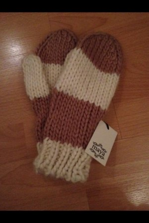 Handschuhe Fäustlinge Maya Strick braun beige weiß neu mit Etikett