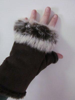 Handschuhe Fingerfrei gefüttert mit Fell Braun