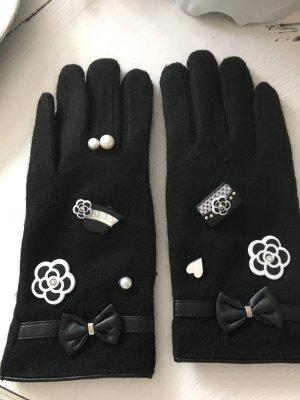 Handschuhe gefüttert Kaschmir schwarz weiß