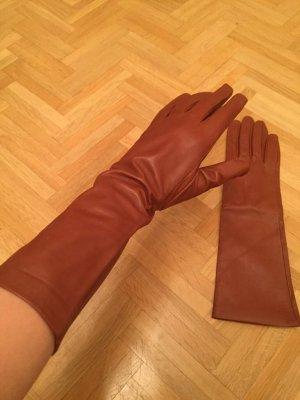 Hallhuber Leather Gloves brown-cognac-coloured