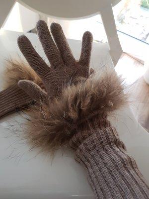Handschuhe hellbraun mit Fell