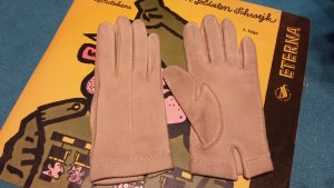 Gloves bronze-colored-beige leather