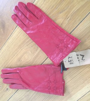 Leather Gloves brick red leather