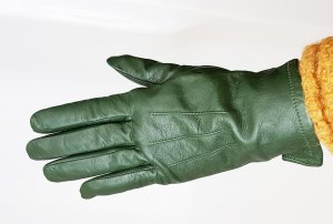 Leather Gloves forest green-black leather