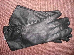 Handschuhe Lederoptik schwarz Imitat