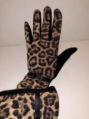 Gevoerde handschoenen zwart-bruin