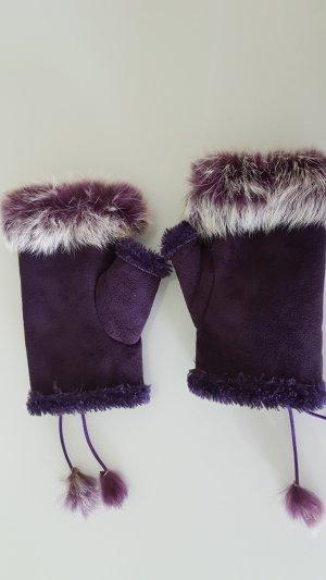 Gants en fourrure violet-lilas