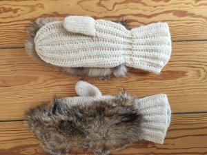 Handschuhe mit Pelzbesatz, echtes Fell, Fäustlinge,Echtpelz, braun, Creme weiß