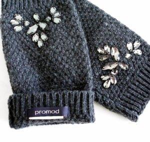 Handschuhe ohne Fingerspitzen grau Strass