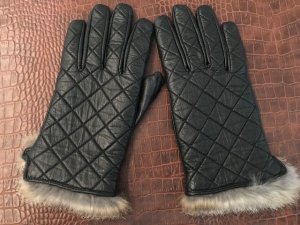 Handschuhe schwarz mit echtem Fell