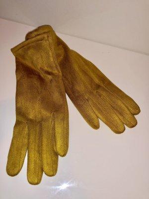 Made in Italy Guantes de cuero de imitación naranja dorado