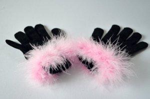 Handschuhe True Vintage Extravagant Federn Rosa Plüsch Variete