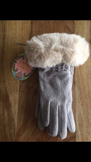 Knitted Gloves light grey-natural white