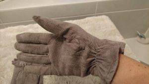 Handschuhe, wildleder grau