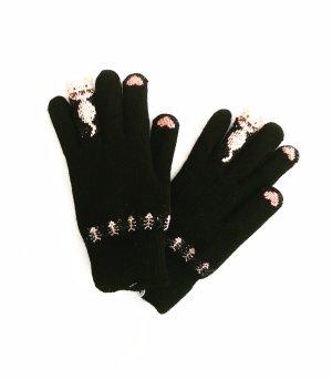 handschuhe • wollhandschuh • vintage • cats • schwarz • altrosa
