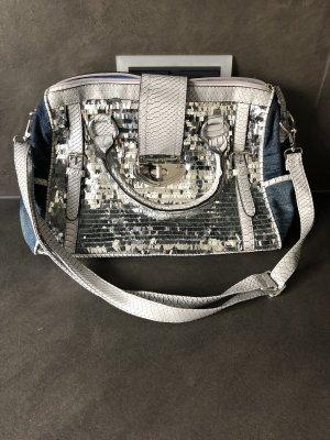 Bolso de bolos azul acero-color plata