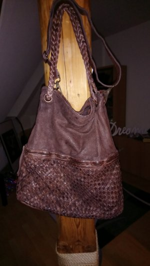 Pouch Bag brown-bronze-colored leather