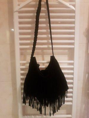 Fringed Bag black-silver-colored